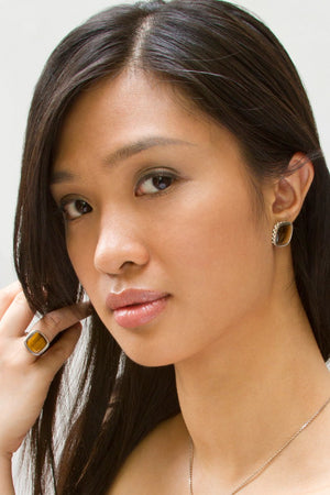 Deco Keystone Earrings - Square Tiger Eye