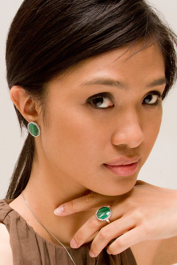 Deco Keystone Earrings - Otta Malachite