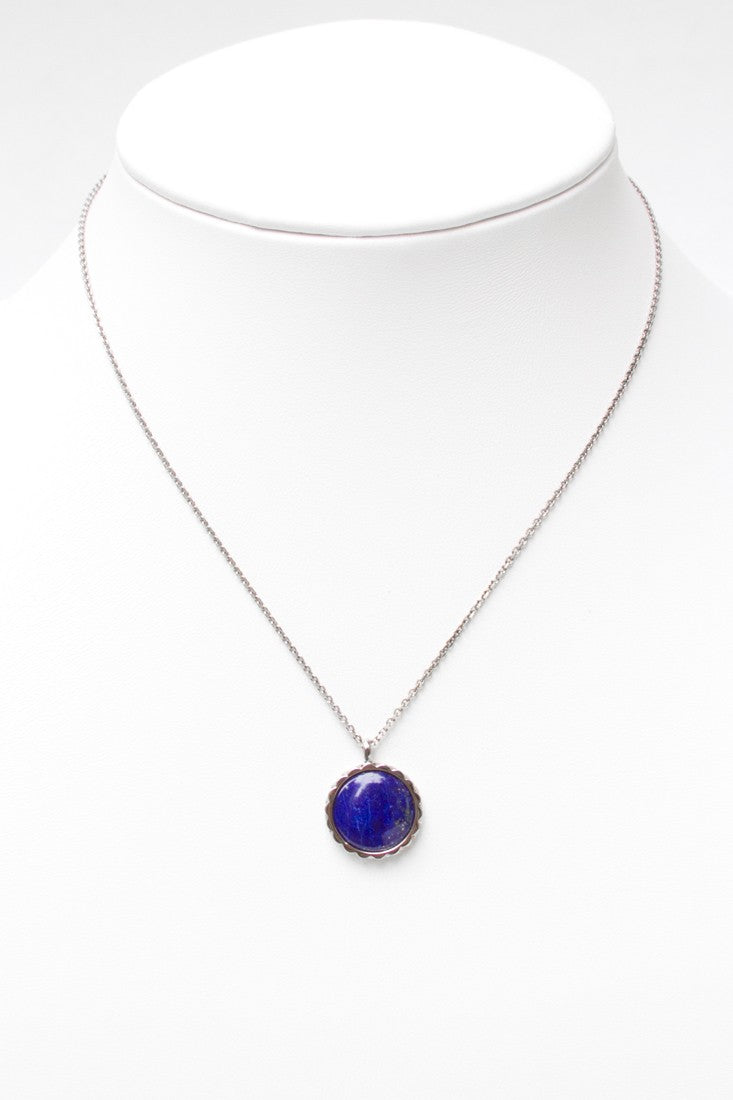 Deco Keystone Necklace - Round Lapis