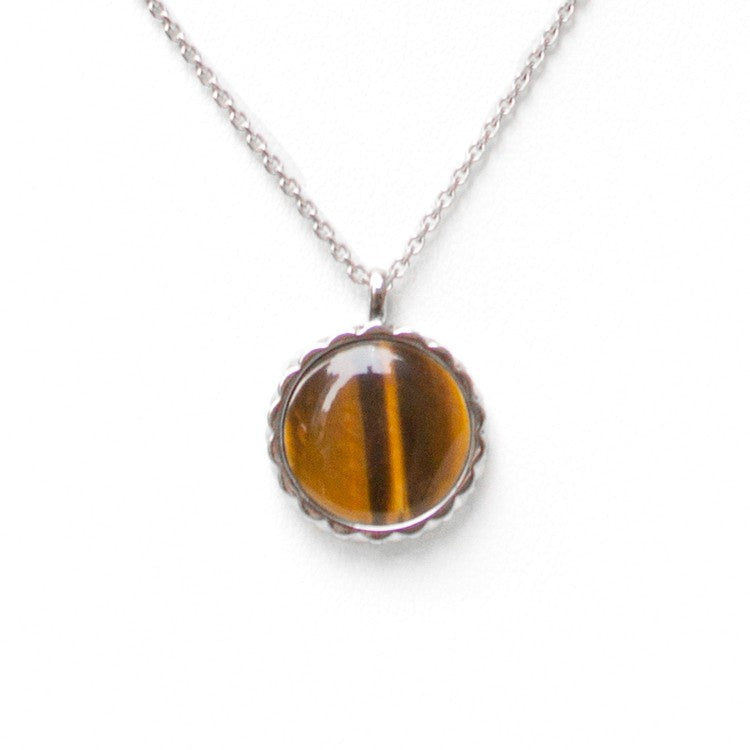 Deco Keystone Necklace - Round Tiger Eye