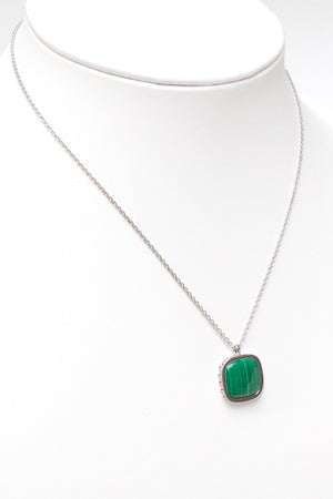 Deco Keystone Necklace - Square Malachite