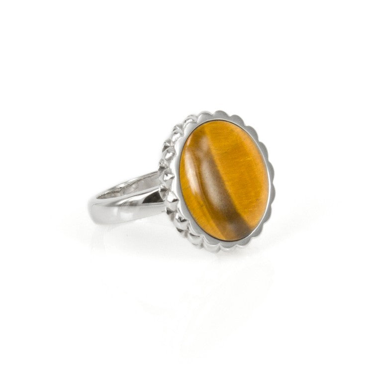 Deco Keystone Ring - Round Tiger Eye