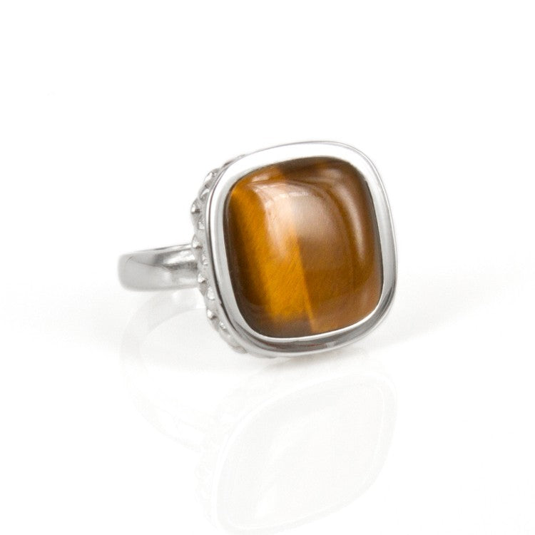 Deco Keystone Ring - Square Tiger Eye