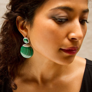 Deco Stone Disc Earrings in Malachite