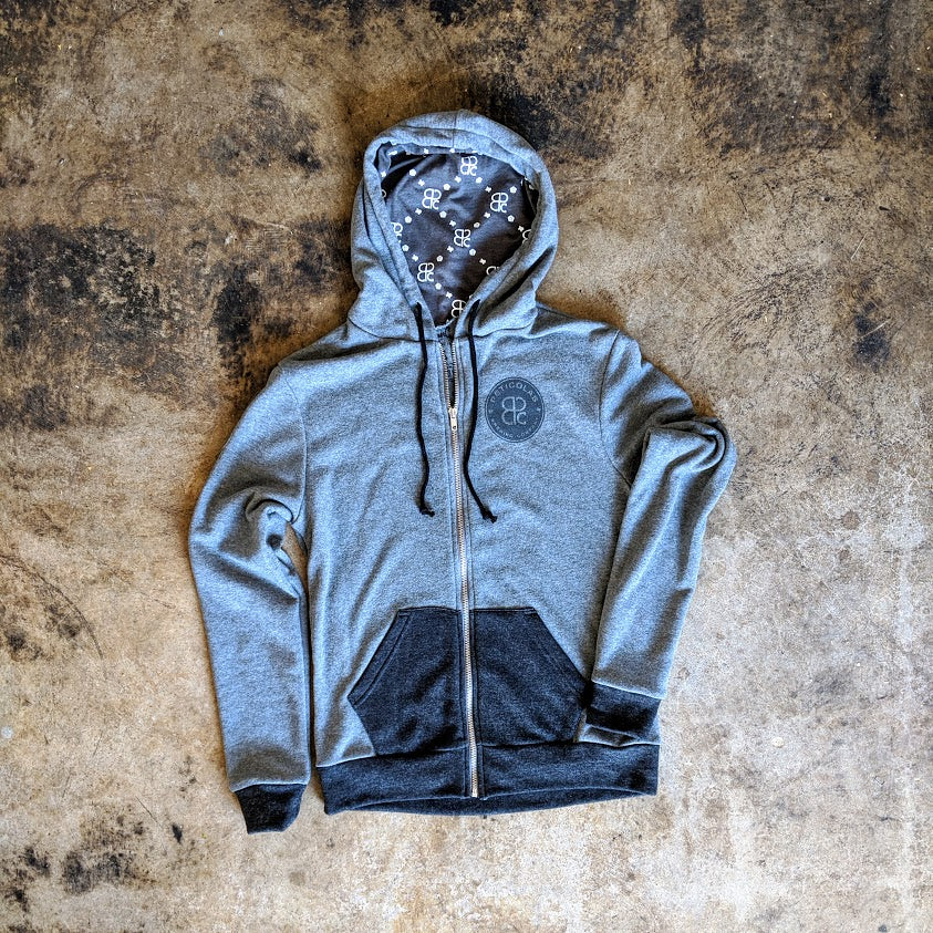 Zip Hoodie Gray/Charcoal with Printed Hood