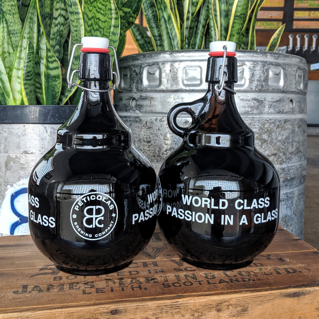 Amber Flip Top Glass Growler 2L