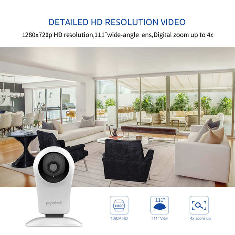 PAPALOOK S1 1080p IP Camera with Night Vision for Home/Office/Baby/Nanny/Pet Monitor with iOS, Android App