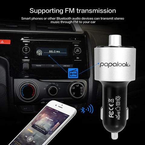 Papalook QC199 6-in-1 Car Charger with LED Display, U Disk Reader & 3.4A Dual USB Car Charger for iphone