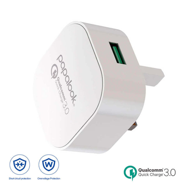 Papalook QC308 Qualcomm QC3.0 Quick Charger USB3.0 Wall Charger - UK Plug