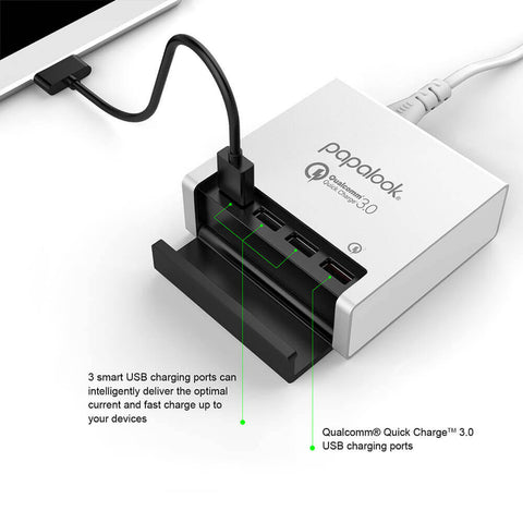 Papalook QC311 40W 8A 4-Port USB Quick Charge 3.0 Station Desktop Charger Universal Fast USB with Smart Identification
