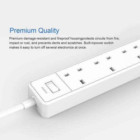 Papalook QC403 Smart Power Strip With 4 AC Outlets and 20W 4 USB Ports - UK Plug