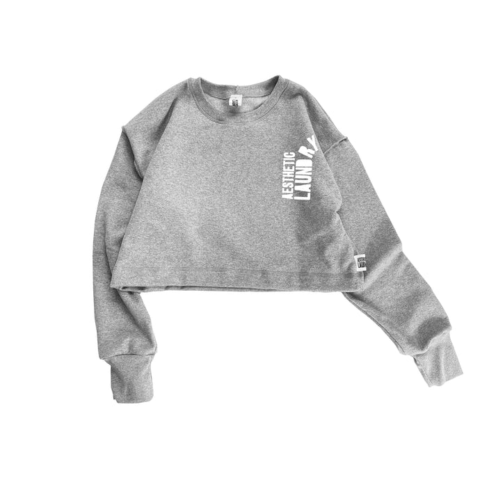 Broken Logo Cropped Jumper - Grey