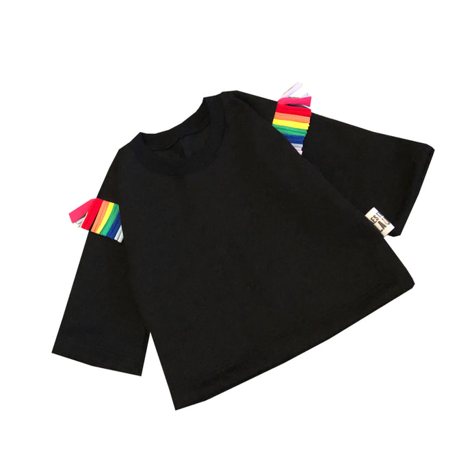 Black Kids Jumper with Rainbow Tassels