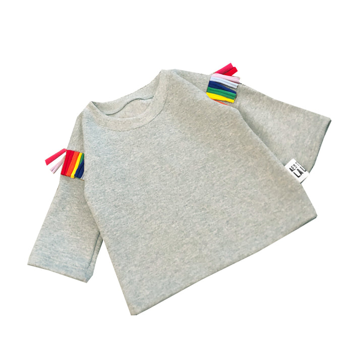 Grey Kids Jumper with Rainbow Tassels