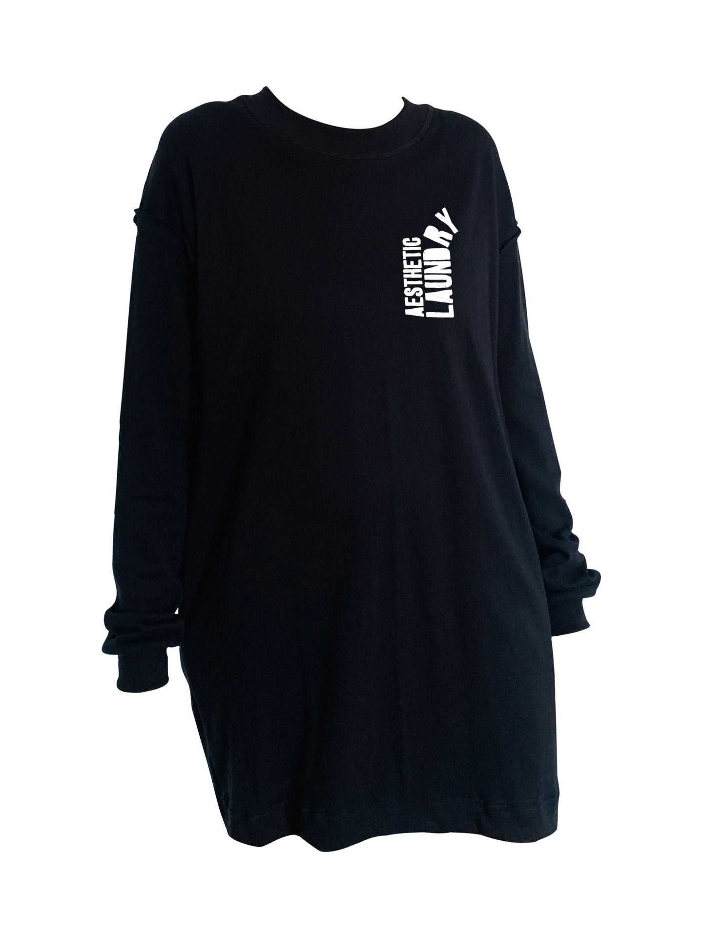 Broken Logo Long Sleeved T-Shirt Dress - Black