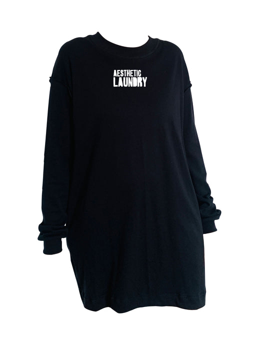 Logo Long Sleeved T-Shirt Dress - Black