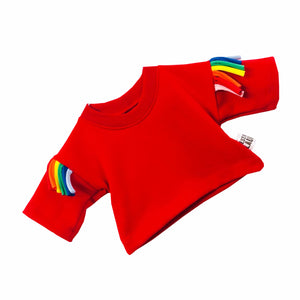 Red Kids Jumper with Rainbow Tassels