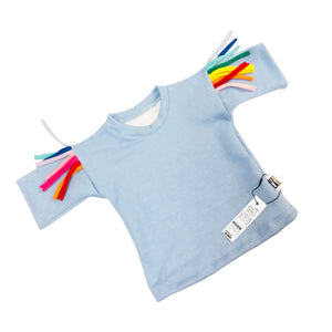 Blue kids jumper with rainbow tassels