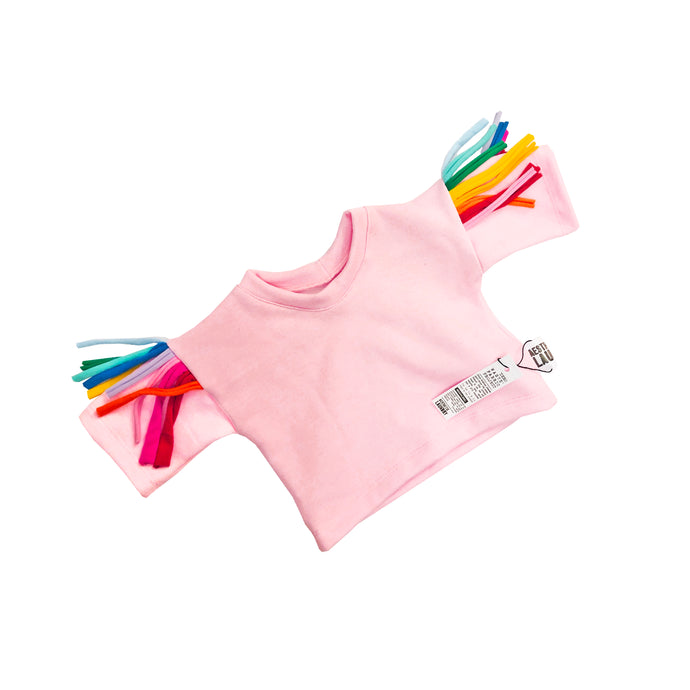 Pink kids jumper with rainbow tassels