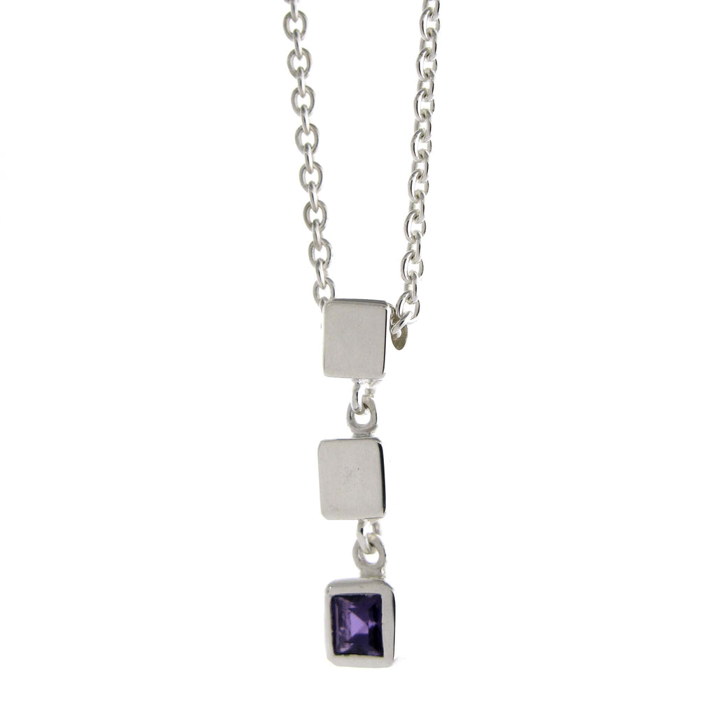 Triple Cube Necklace-Amethyst