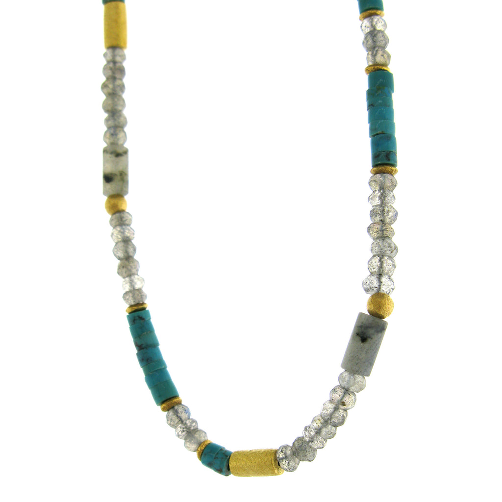 Faceted Labradorite and Turquoise Necklace