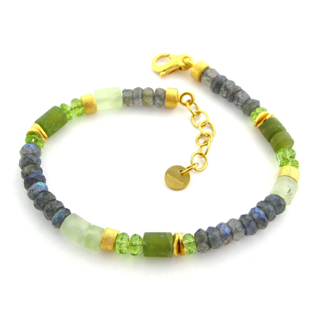 Labradorite, Peridot and Prenite Bracelet