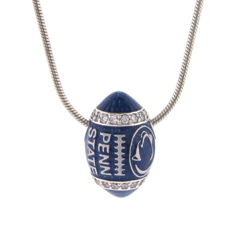 Blue Enamel Football Necklace with Diamonds