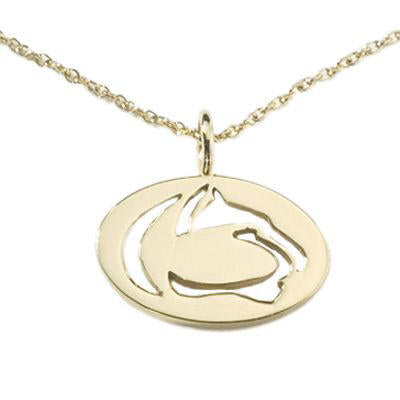 14KT Gold Penn State Cut Out Lion Logo Necklace