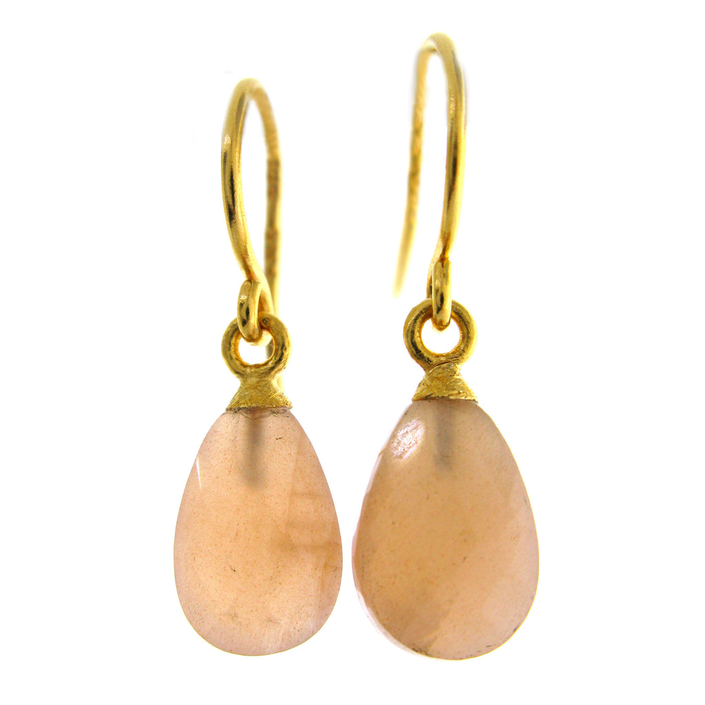 Faceted Peach Moonstone Earrings
