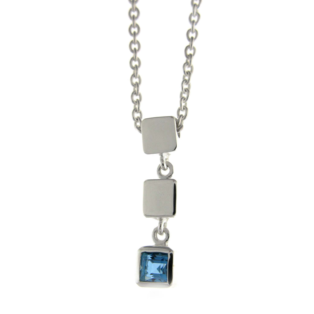 Triple Cube Necklace-Blue Topaz