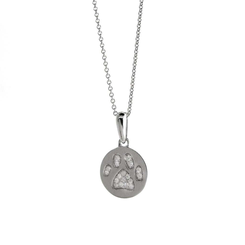 Twinkle Toes Diamond Paw Print Necklace