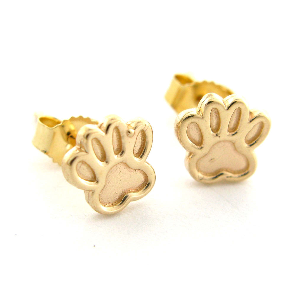 "Petite ""Dream"" Gold Paw Studs"