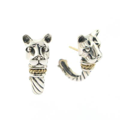 """Bold withGold"" Lion Head J Hoop Earrings-Large"