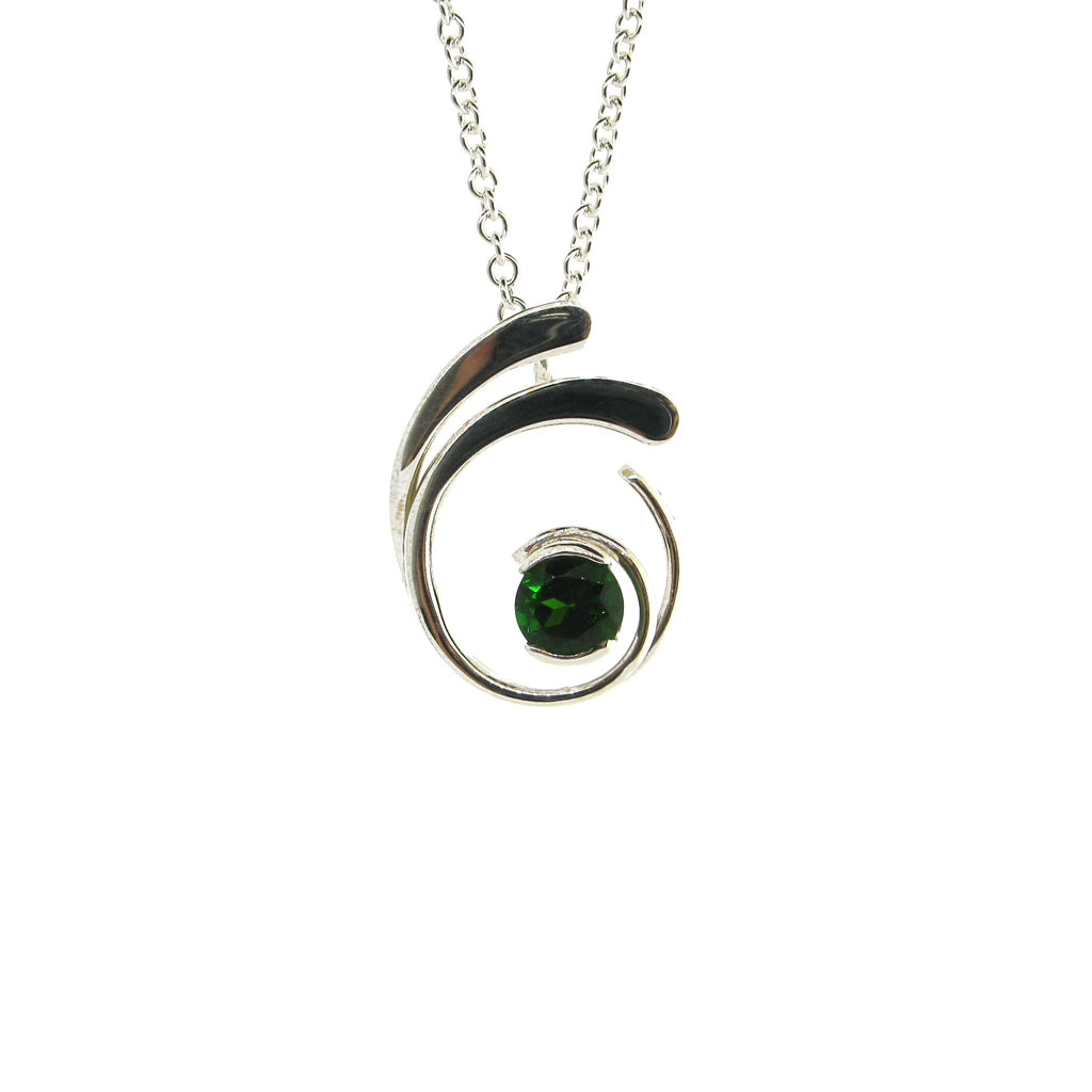 Chrome Diopside Four-Curl Necklace