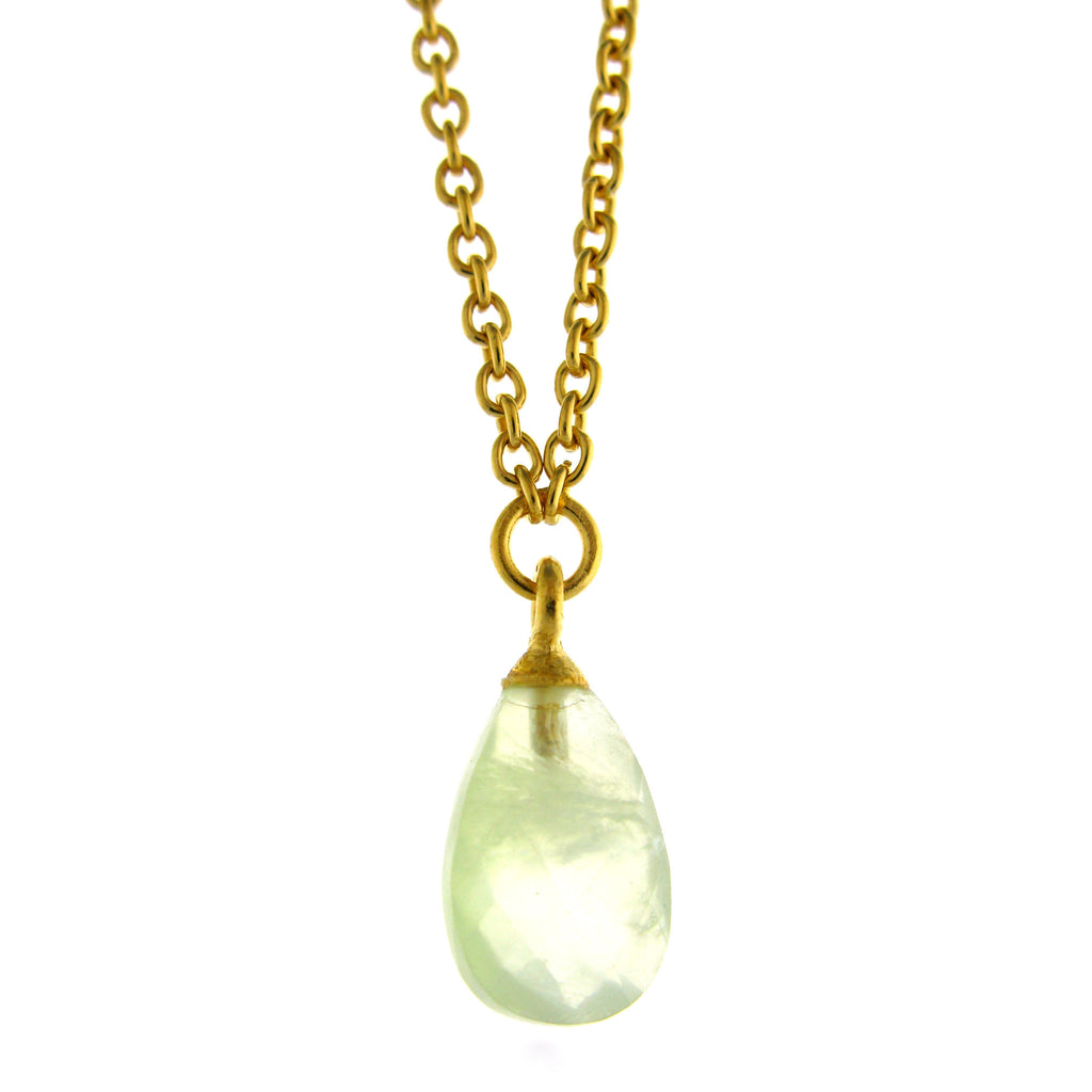 Faceted Prenite Drop Pendant
