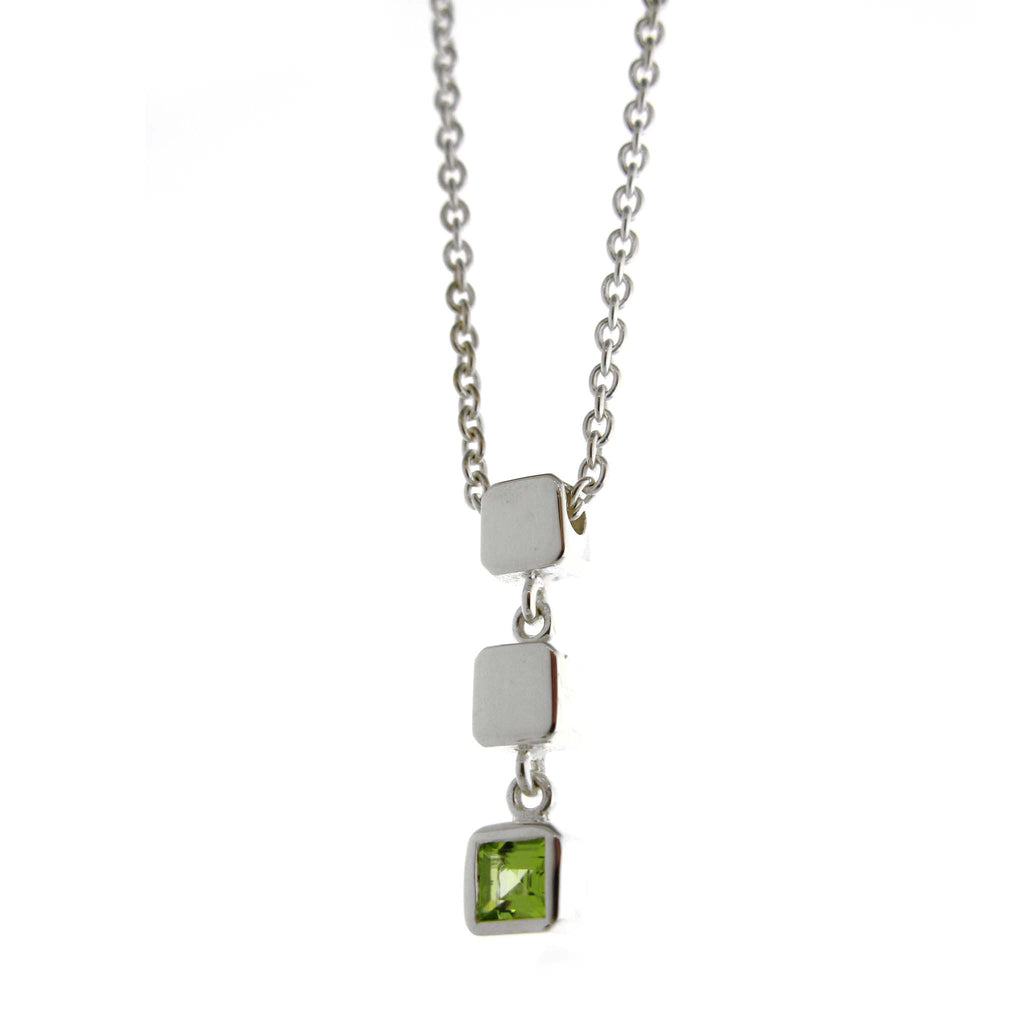 Triple Cube Necklace-Peridot