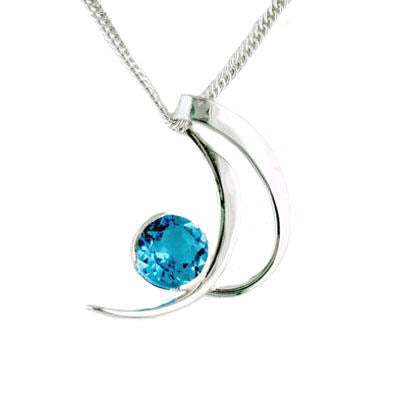 Blue Topaz Crescent Necklace