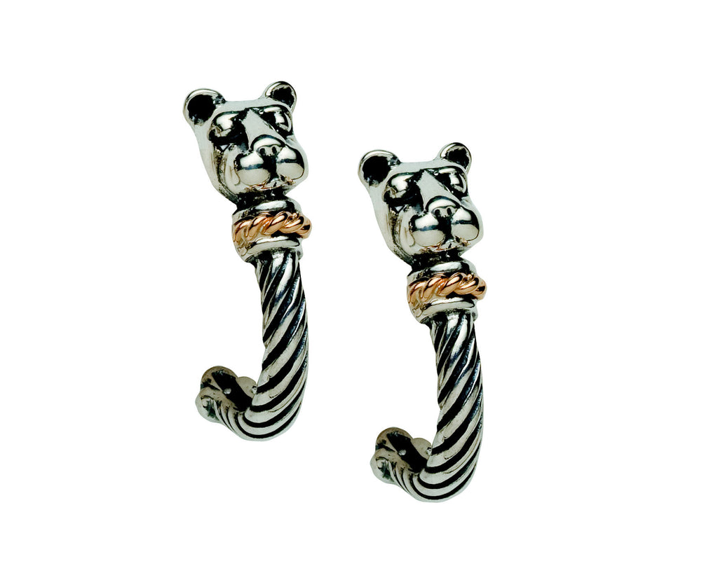 """Bold withGold"" Lion Head J Hoop Earrings-Small"