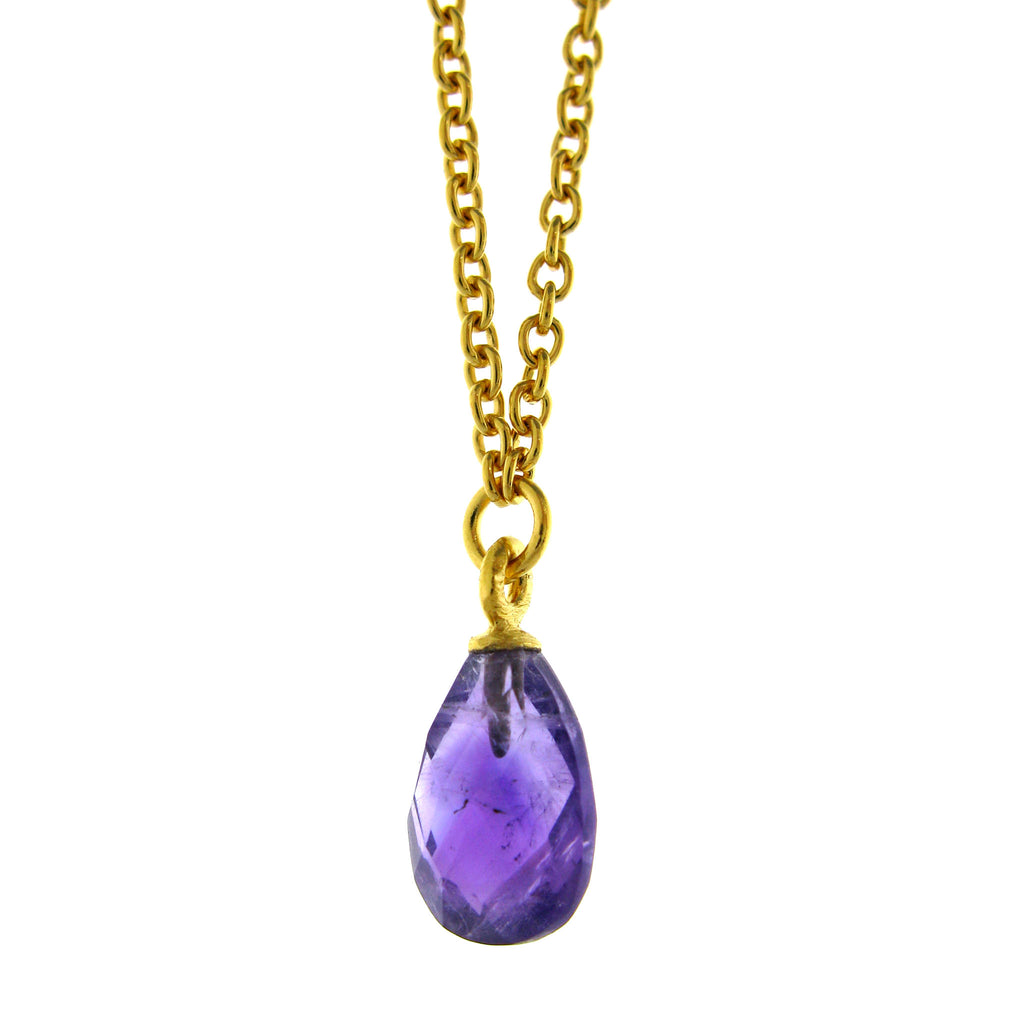 Faceted Amethyst Drop Pendant