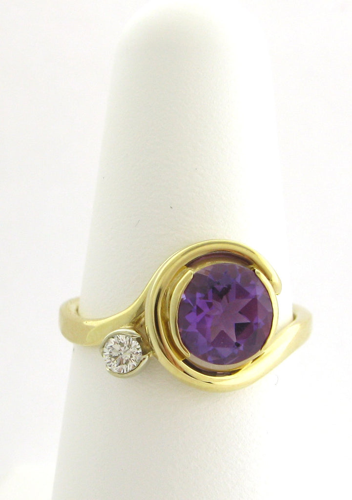 Amethyst and Diamond Curl Ring
