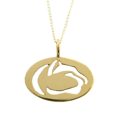 Gold Penn State Cut Out Lion Logo Necklace-Small