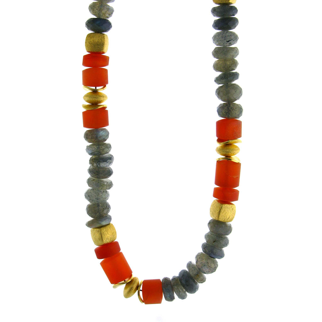 Faceted Labradorite and Carnelian Necklace