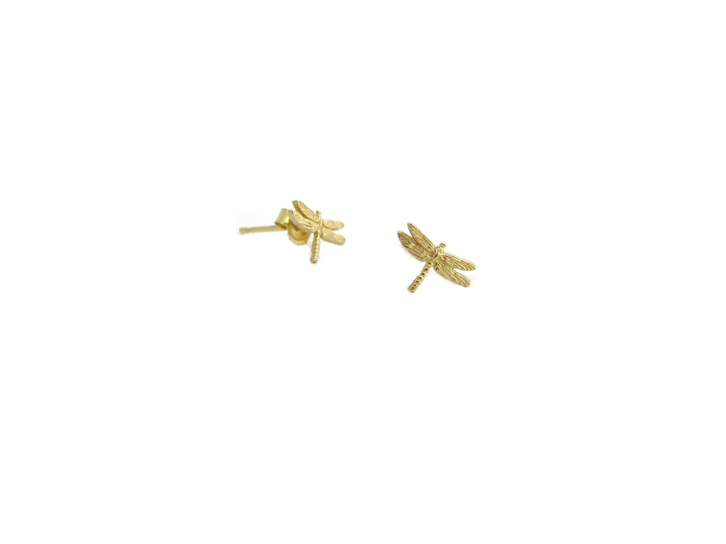 "Tiny Dragonfly ""Dream"" Earrings-Gold"