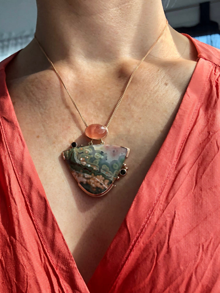 Ocean Jasper, Strawberry Quartz & Tourmaline Necklace