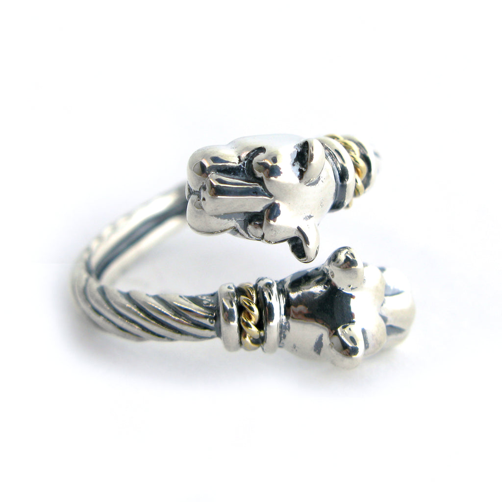 Two Tone Double Lion Head Wrap Ring