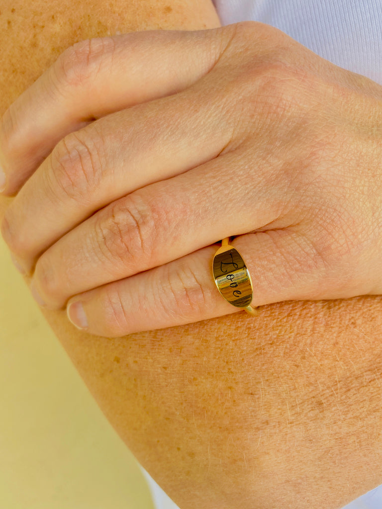 "Gold 'Love"" Signet Ring"