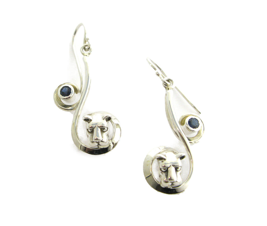 Curl Lion Head and Sapphire Earrings