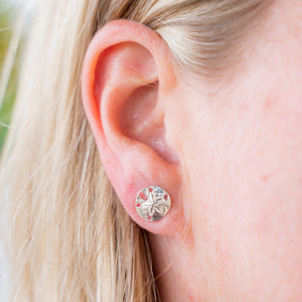 Silver Sand Dollar Stud Earrings