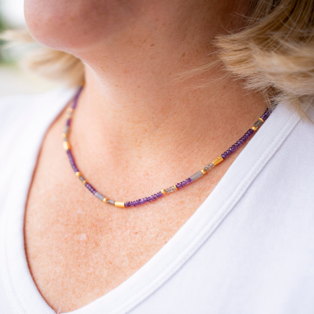 Faceted Amethyst and Labradorite Necklace