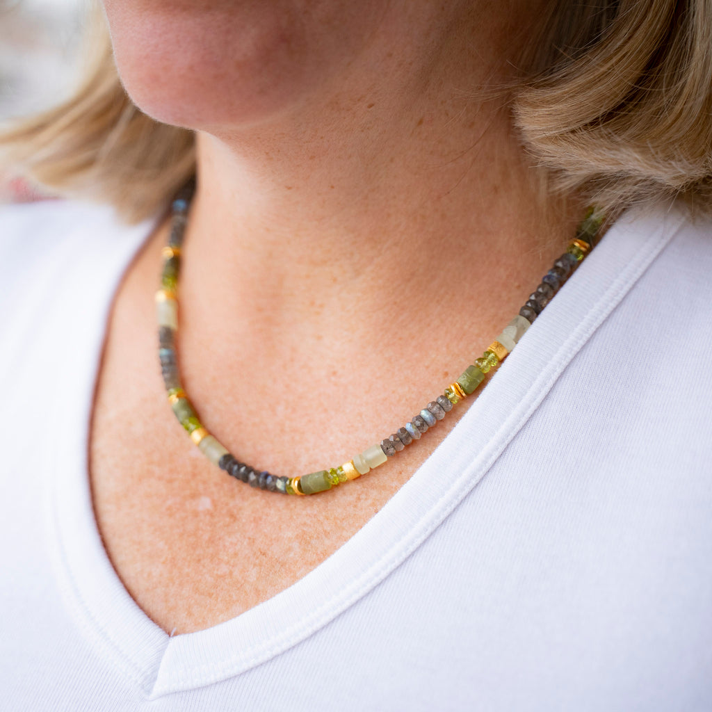 Labradorite, Peridot and Prenite Necklace